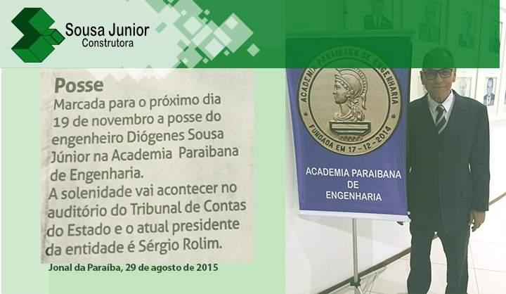 Presidente da Sousa Junior Construtora fará parte da Academia Paraibana de Engeharia